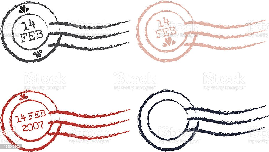 Stamp Series III - Vector postmarks (Valentine's Day) royalty-free stock vector art