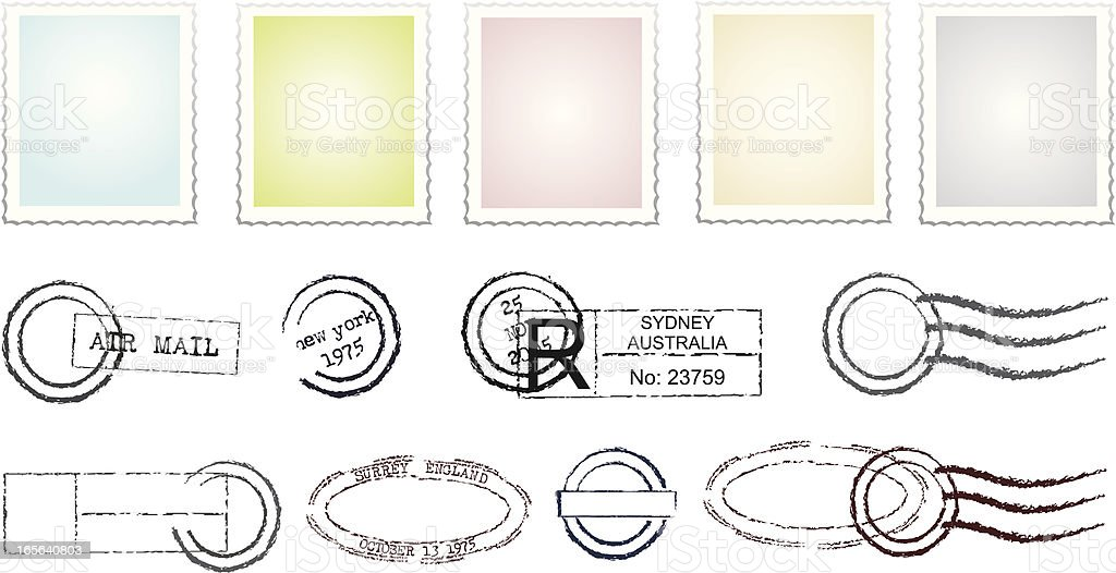 Stamps and Postmarks royalty-free stock vector art