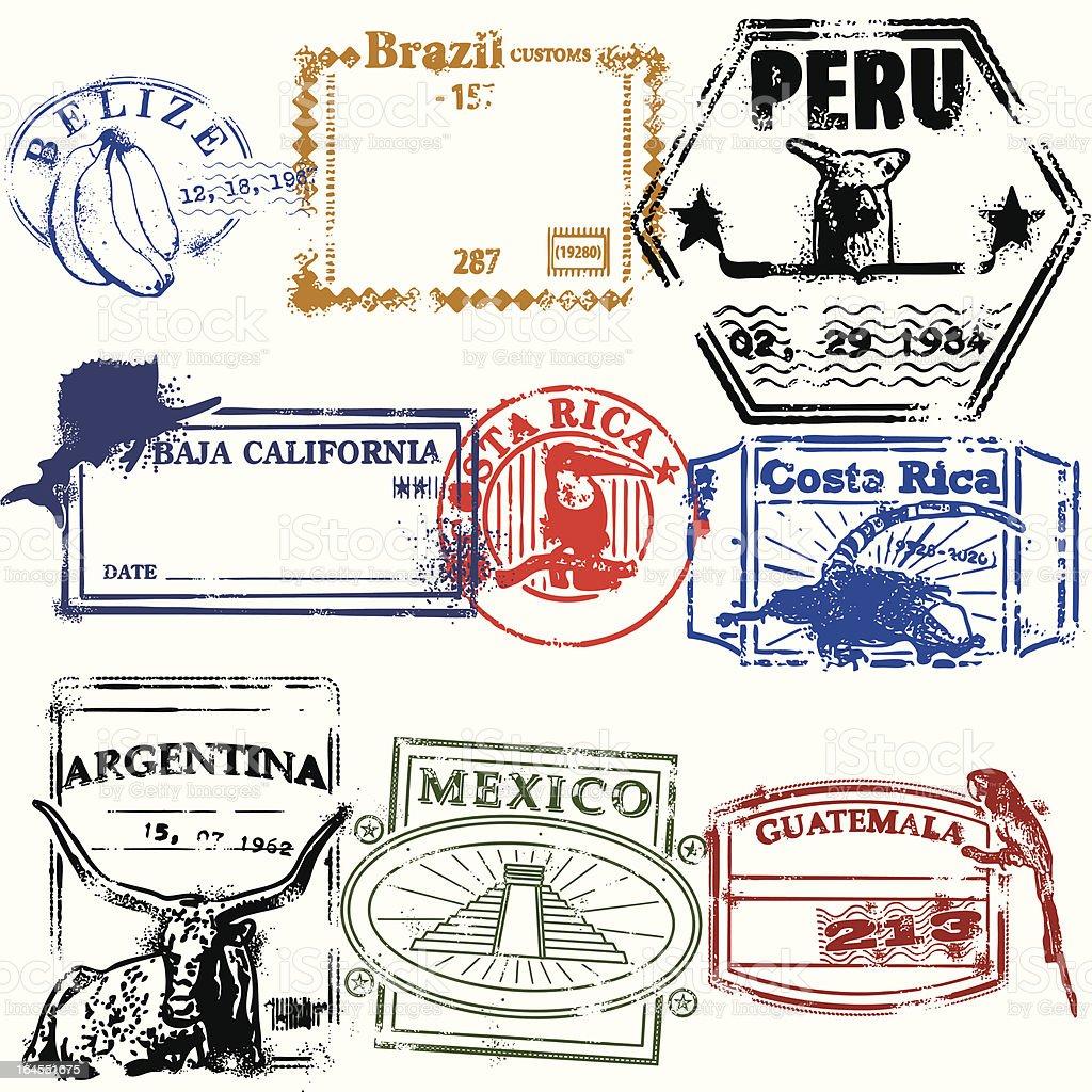 Stamps de la Raza vector art illustration