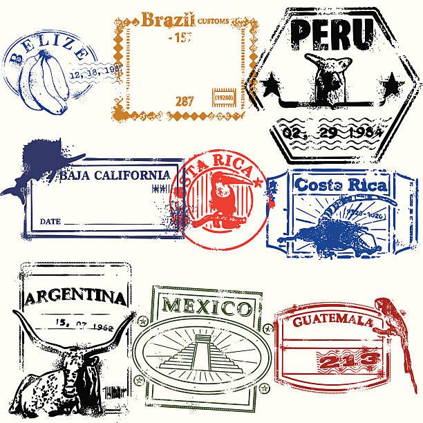 ilustraciones, imágenes clip art, dibujos animados e iconos de stock de sellos de la raza - viaje a sudamérica