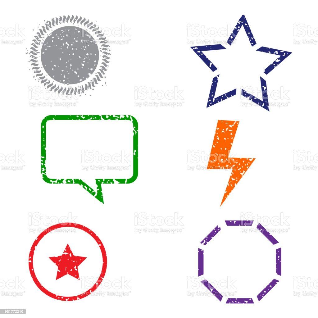 Stamps frames on white background. Six stamps frames. Flat design. Vector illustration EPS10. vector art illustration