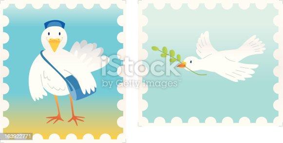 istock stamps (postman- and peacedove) 163922771