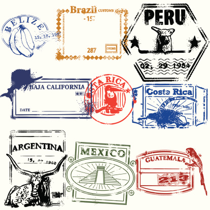 Stylized travel stamps of South America