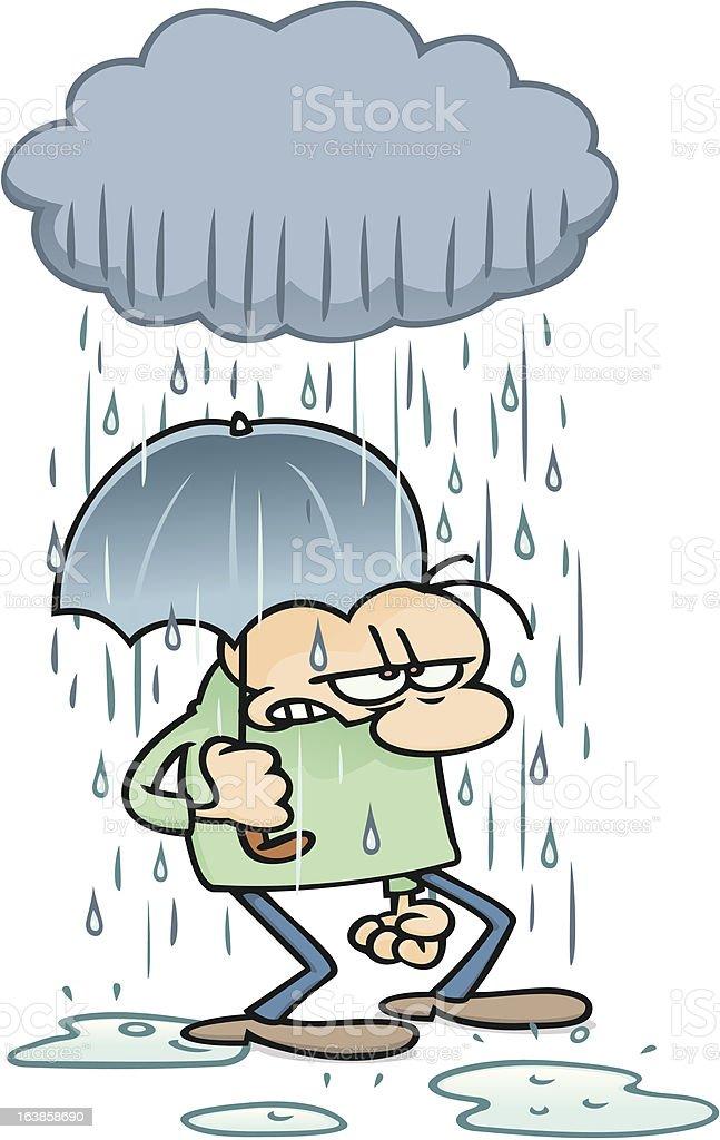 Standing in the rain vector art illustration
