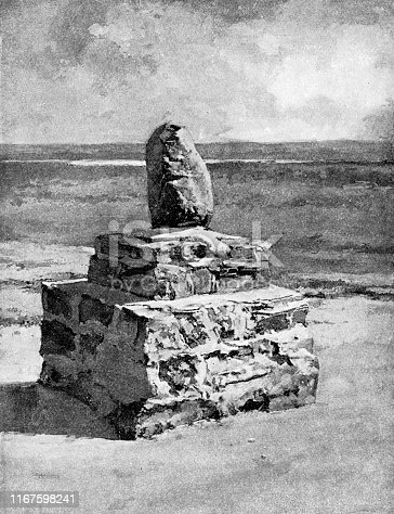Standing Rock Monument of Sioux First Nations in Fort Yates, North Dakota, USA. Vintage etching circa late 19th century.