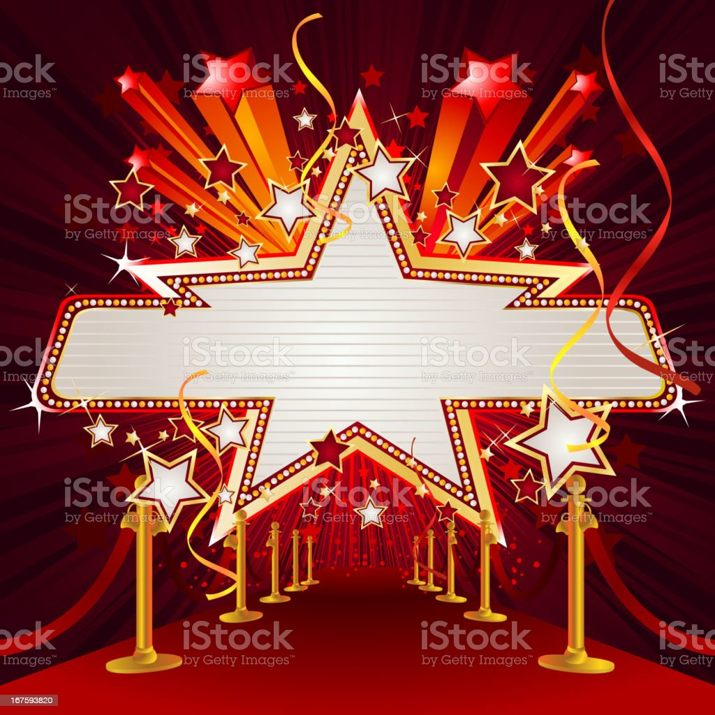 Star and Panel Marquee Display with Red Carpet royalty-free star and panel marquee display with red carpet stock vector art & more images of arts culture and entertainment