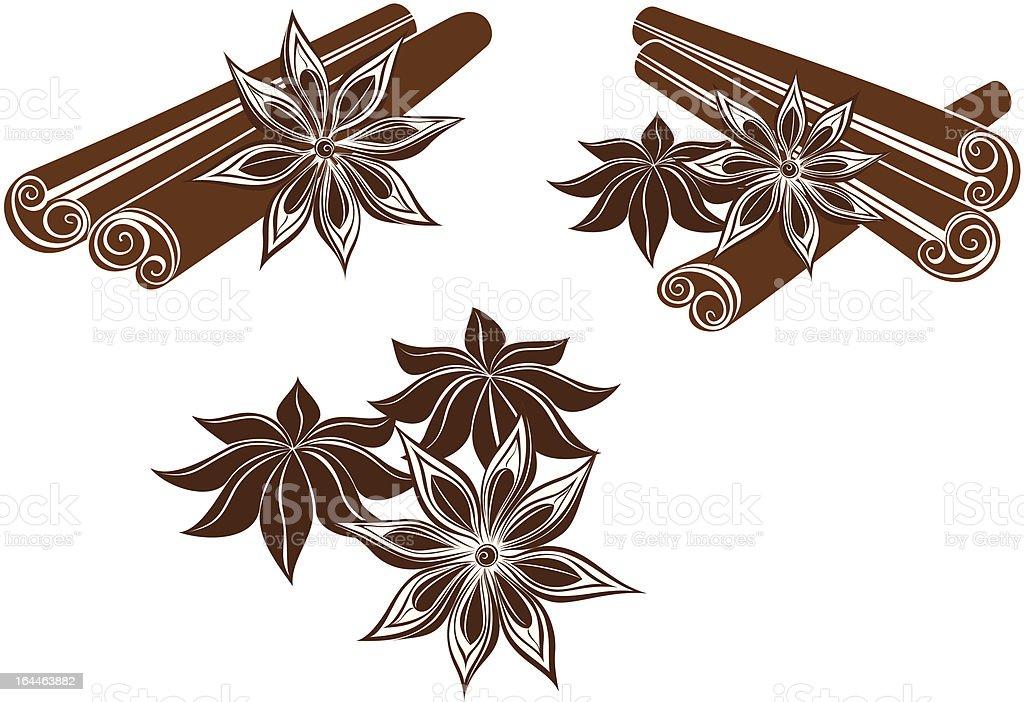 Star anise with cinnamon sticks vector art illustration