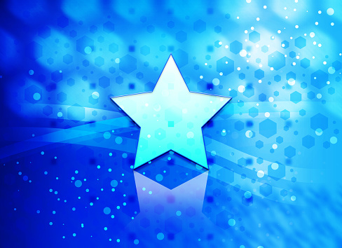 Star icon abstract light cyan blue hexagon pattern background
