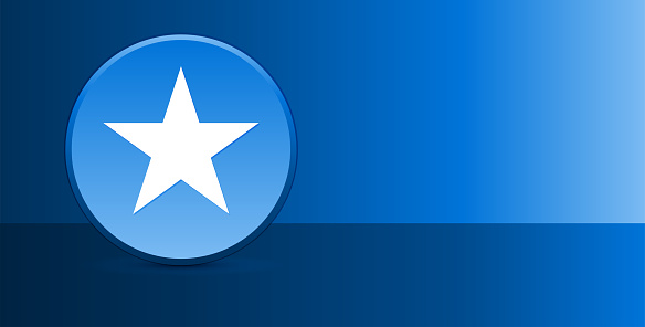 Star icon glassy modern blue button abstract background