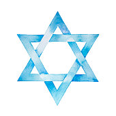 Star of David watercolor illustration. Six pointed geometric figure and light blue artistic gradient.
