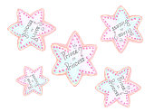 star shaped cookies in blue pink colours