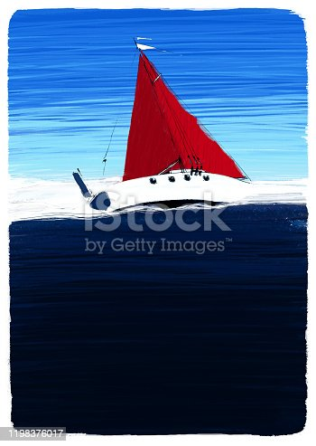 Starboard side view of a yacht at dark blue sea