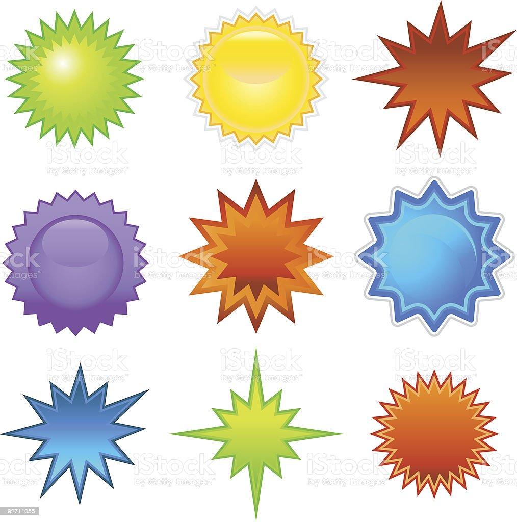 Starburst Stickers vector art illustration