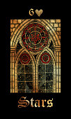 Gothic window with glass painting, starry night. Colorful graphic engraved illustration. Fantasy and mystic drawing. Gothic, occult and esoteric background for Halloween