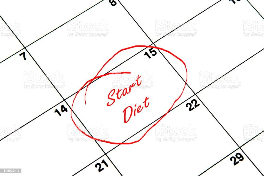 Dieta de inicio en un círculo en un calendario en rojo - ilustración de arte vectorial
