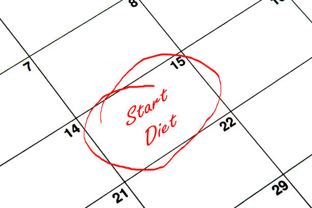 start diet circled on a calendar in red - workout calendar stock illustrations, clip art, cartoons, & icons