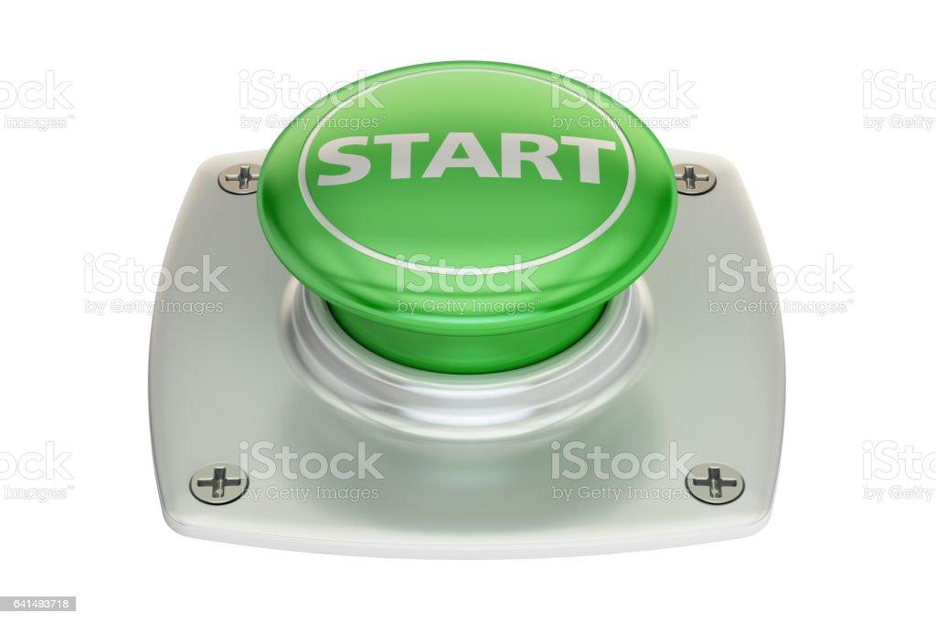 Start green button, 3D rendering isolated on white background vector art illustration