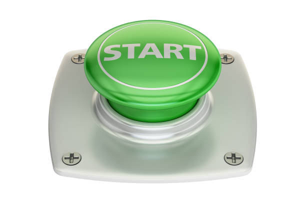 Start green button, 3D rendering isolated on white background vector art illustration