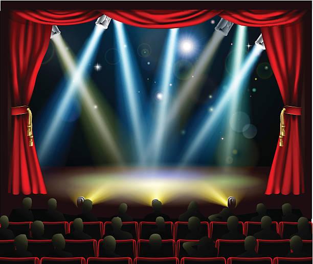 illustrazioni stock, clip art, cartoni animati e icone di tendenza di inizio dell'evento di intrattenimento sorprendente - sipario