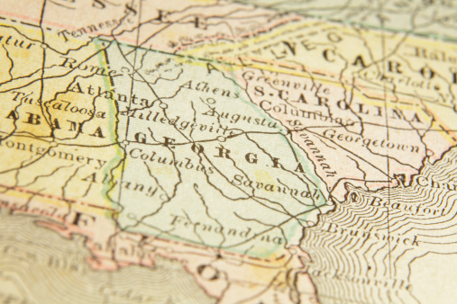 Macro shot on a US map from 1881 showing the state of Georgia. Taken with Canon 5D Mark II and Sigma Lens. Selective focus on the center of the image.