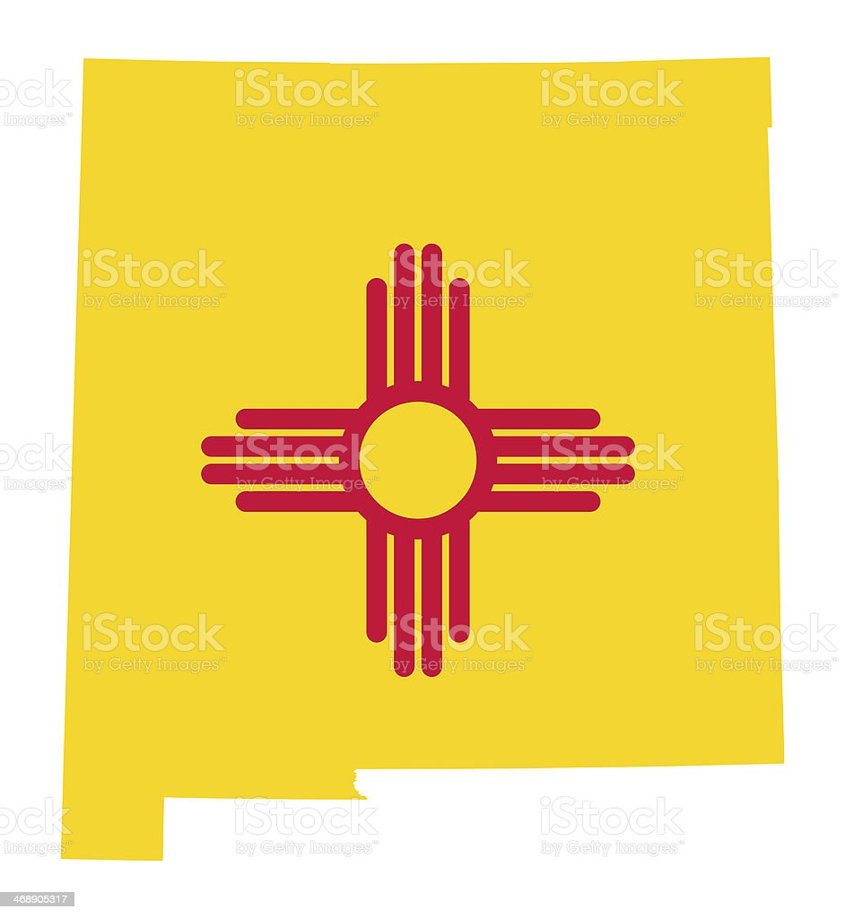 State of New Mexico flag map vector art illustration
