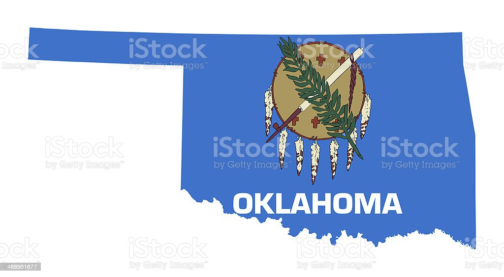 State Of Oklahoma Flag Map Stock Vector Art More Images Of
