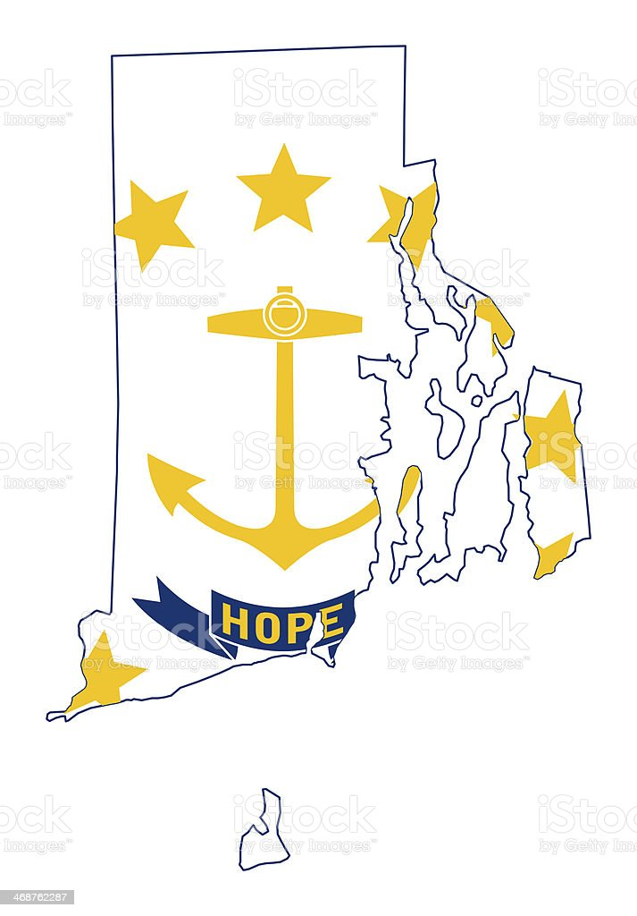 State Of Rhode Island Flag Map Stock Vector Art 468762287 Istock