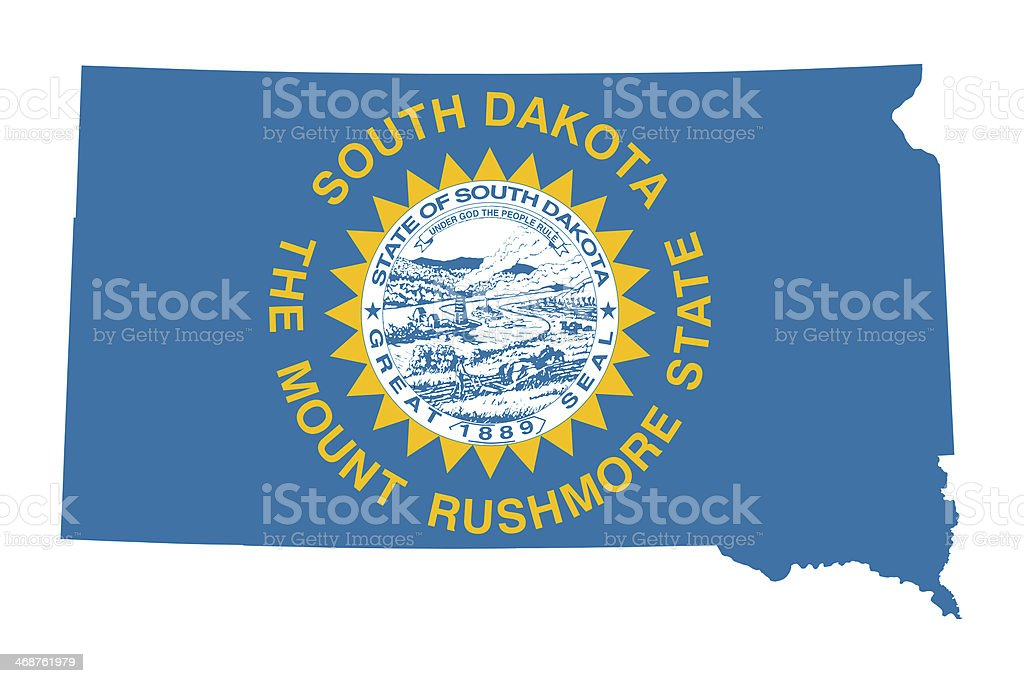 State of South Dakota flag map vector art illustration