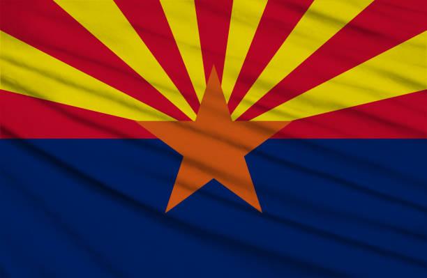 ARIZONA state waving flag vector art illustration