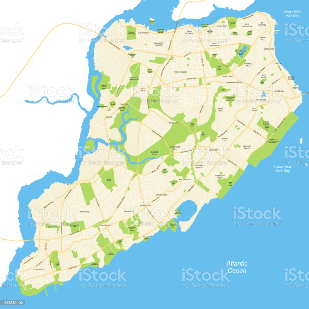 City Map Of New York City.Staten Island New York City Map Vector Illustration Stock Illustration Download Image Now
