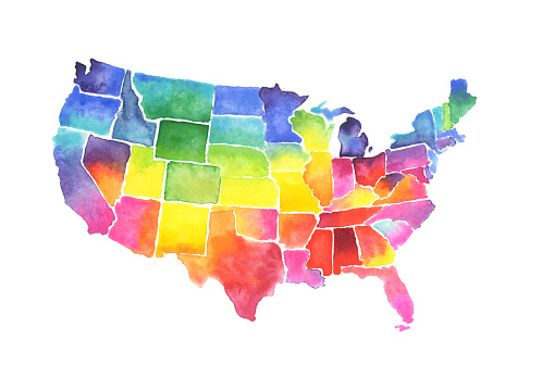 USA States Map Watercolor Painting