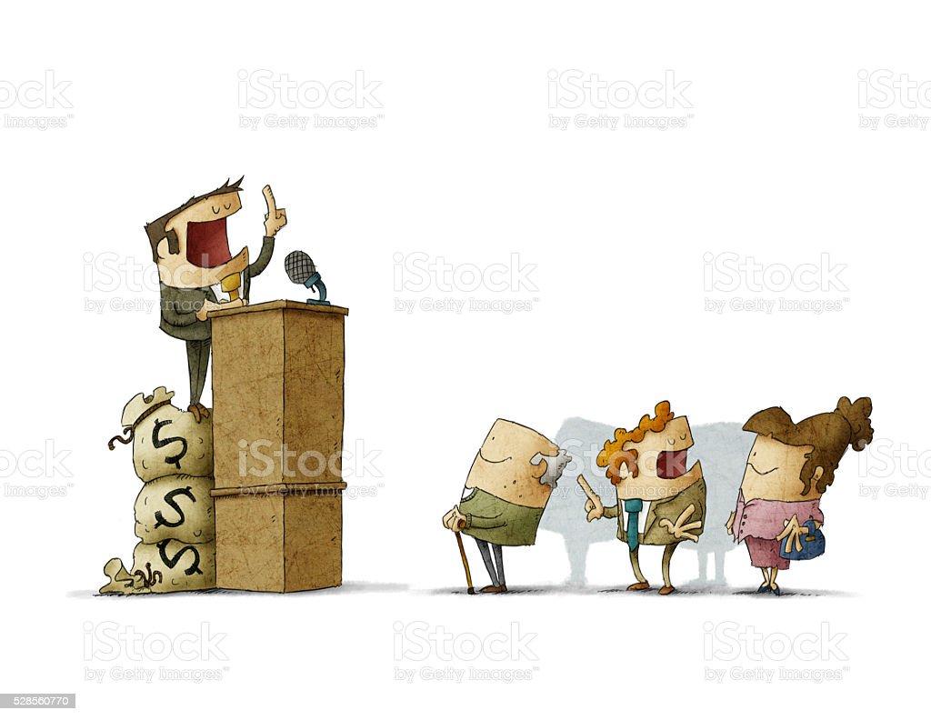 Statesman giving speech during election vector art illustration