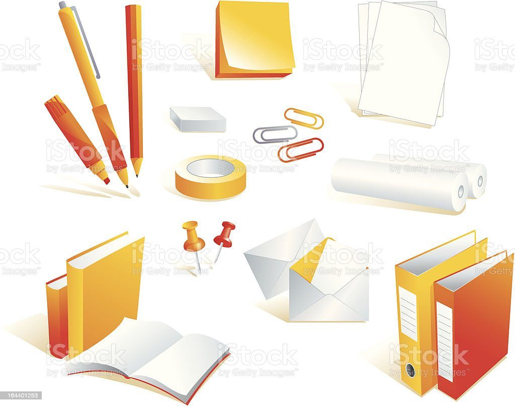 Stationery, office supply items, isolated objects royalty-free stock vector art