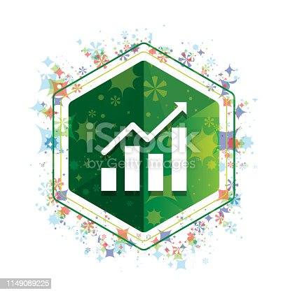 Statistics icon isolated on floral plants pattern green hexagon button
