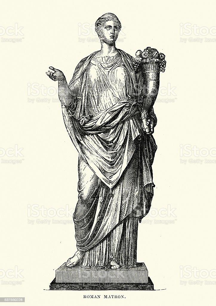 Statue of an Ancient Roman Matron vector art illustration