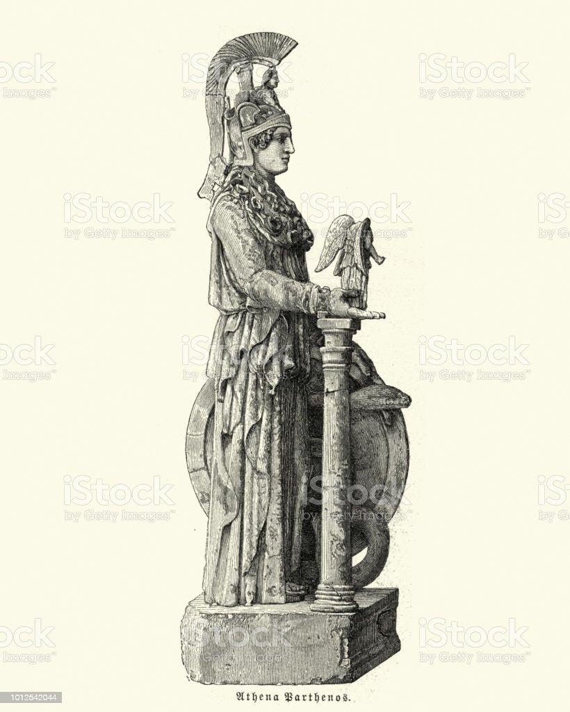 Statue of Athena Parthenos vector art illustration