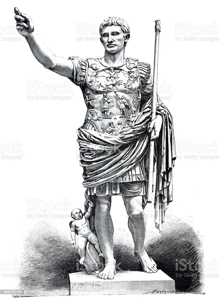 Statue of Augustus vector art illustration