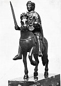 Statue of Charlemagne, on horse, with sword