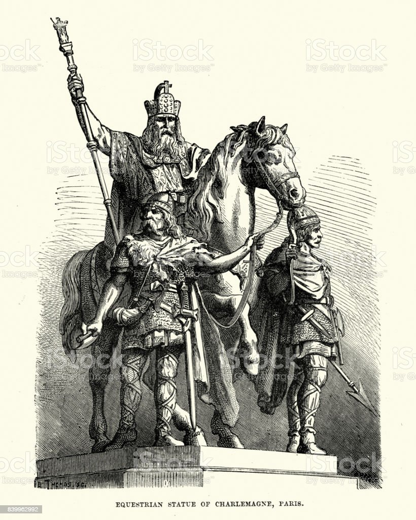 Statue of Charlemagne,  on horseback vector art illustration