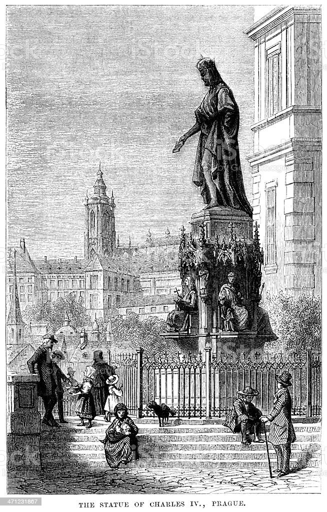 Statue of Charles IV in Prague (1875 illustration) vector art illustration