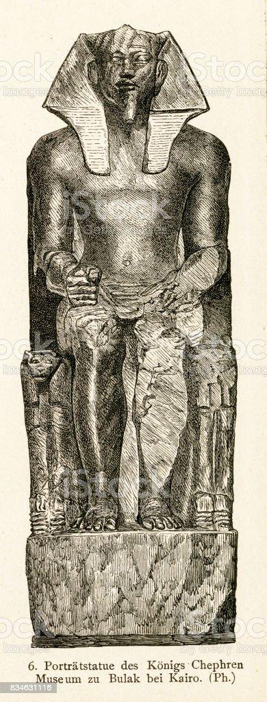 statue of Egyptian pharoah Khafra (Khafre) vector art illustration
