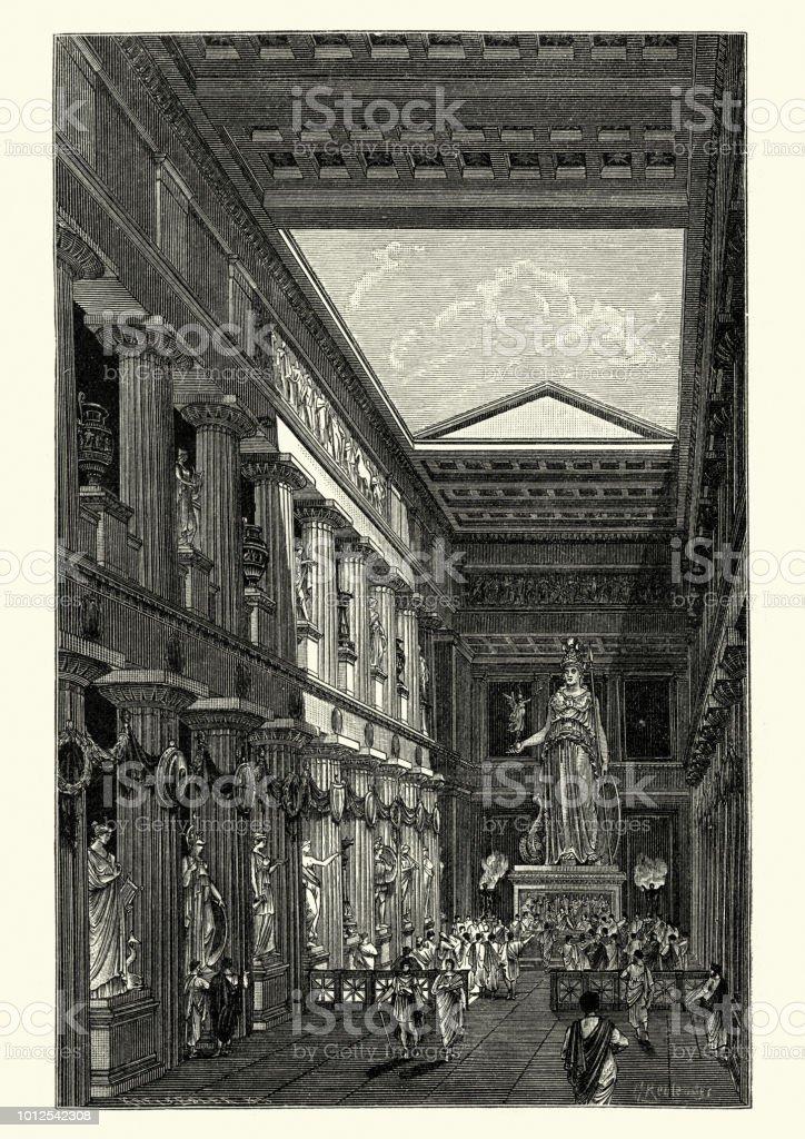 Statue of Goddess Athena in the Parthenon vector art illustration