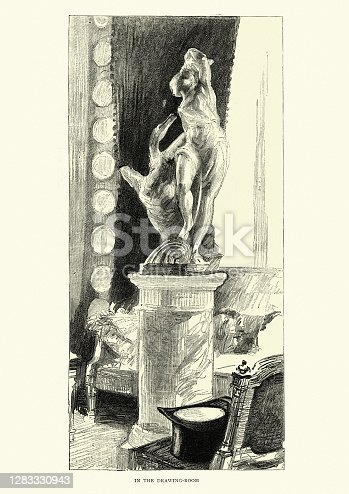 Vintage illustration of Statue of Leda and the Swan by Bartolomeo Ammanati in the drawing room of John Everett Millais, Victorian, 1888, 19th Century. This group was bought in Florence in 1865 by the British painter Sir John Everett Millais. It was originally said to be by Michelangelo
