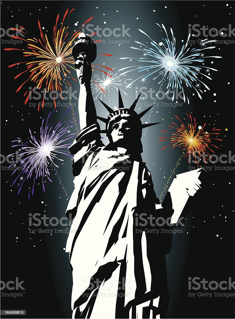 Statue of Liberty and Fireworks royalty-free stock vector art