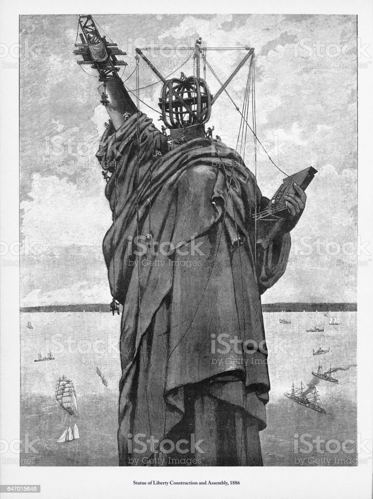 Statue of Liberty Construction and Assembly Victorian Engraving, 1886 vector art illustration