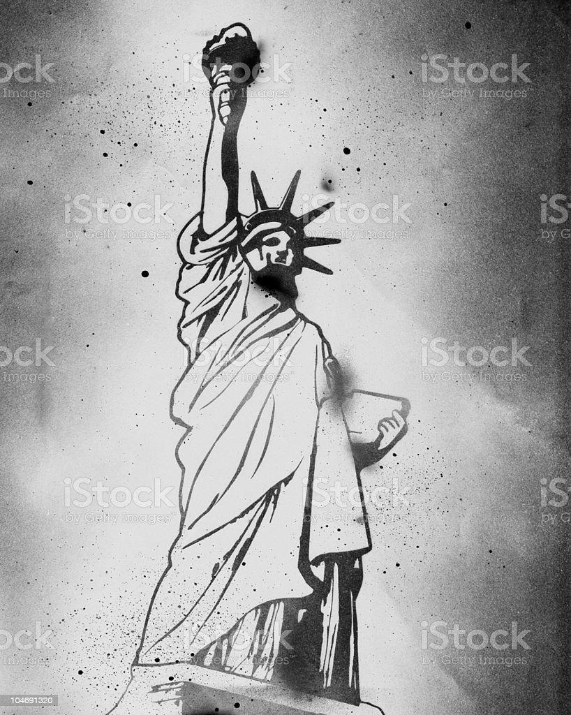Statue of Liberty Stencil vector art illustration