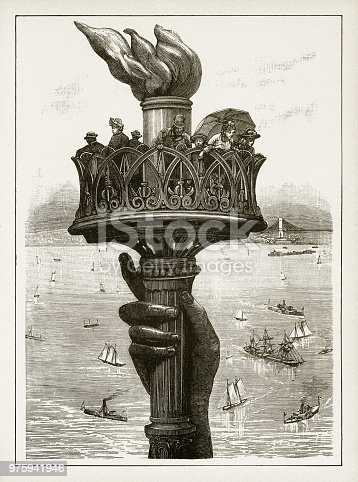 Beautifully Illustrated Antique Engraved Victorian Illustration of Statue of Liberty Victorian Engraving, 1878. Source: Original edition from my own archives. Copyright has expired on this artwork. Digitally restored.