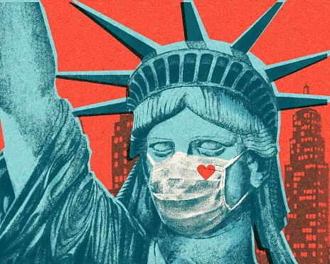 Statue of Liberty Wearing Face Mask