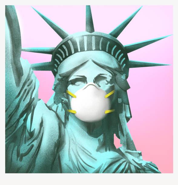 フェイスマスク付きの自由の女神。 - corona newyork点のイラスト素材/クリップアート素材/マンガ素材/アイコン素材