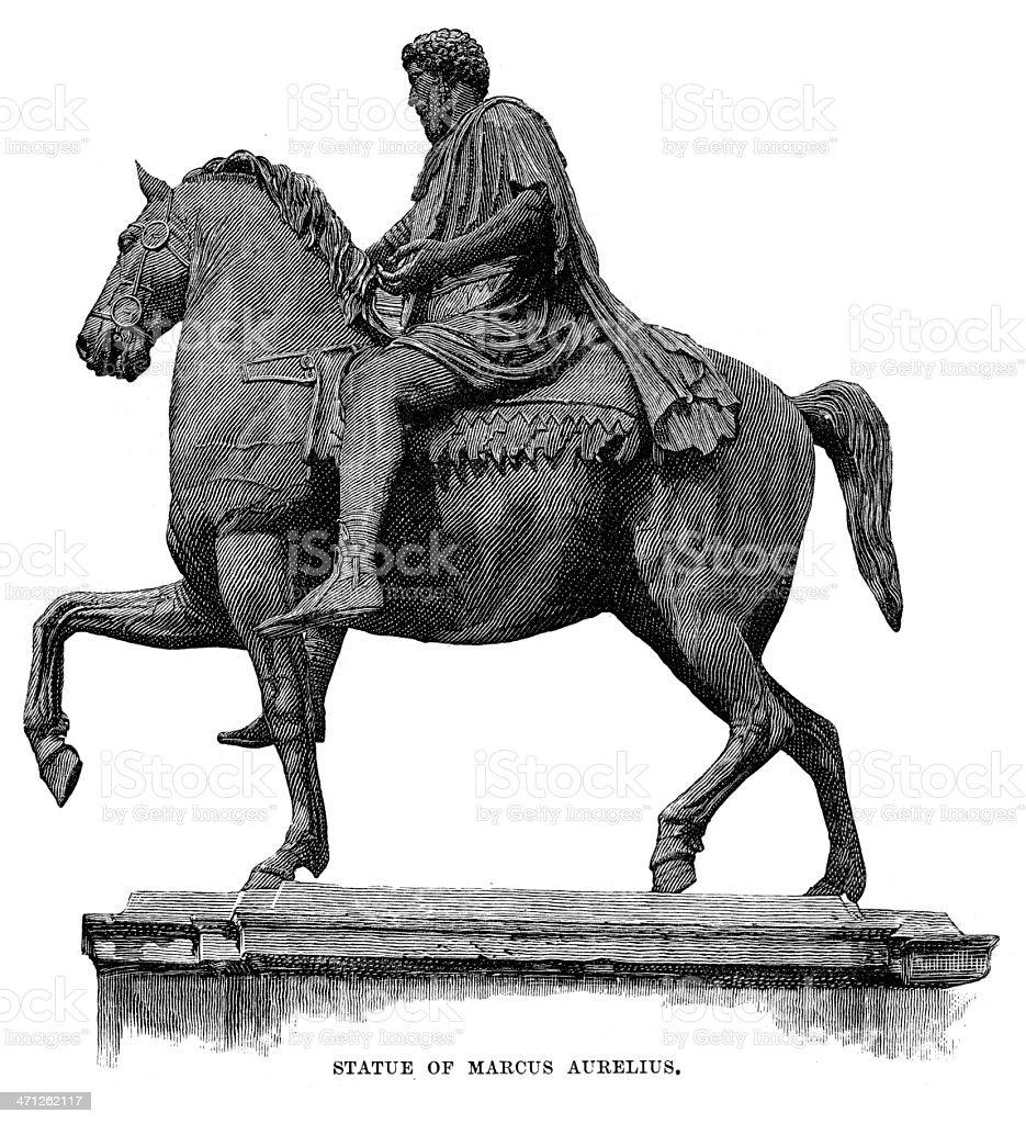 Statue of Marcus Aurelius royalty-free stock vector art